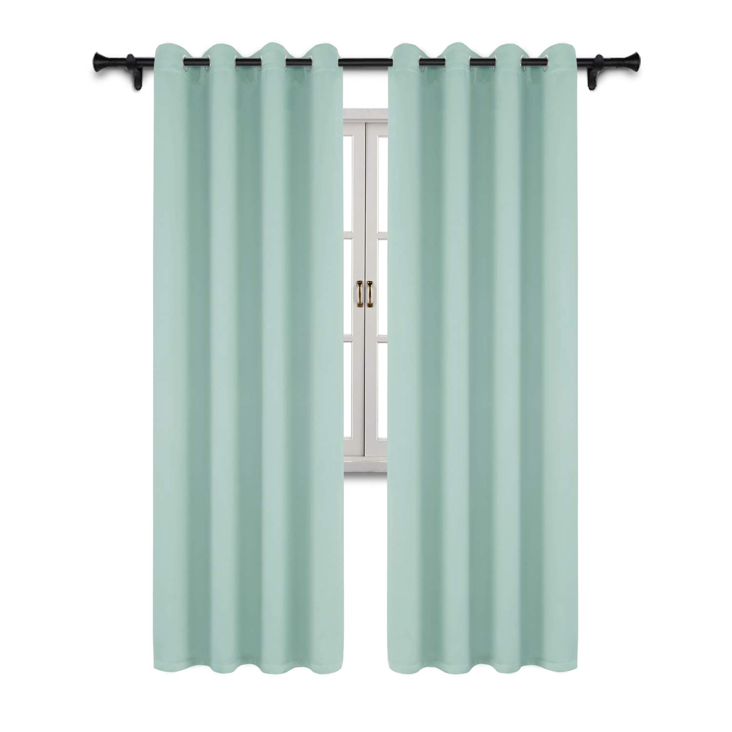 SUO AI TEXTILE Blackout Curtains Home Fashion Thermal Insulated Curtain Grommet Top Blackout Curtains for Living Room/Bedroom 52x84 Inch Mint Green 2 Curtain Panels