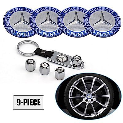 Lisha 9-Piece Set 65mm Car Wheel Center Cap Cover Logo Emblem Sticker for Mercedes Benz Matching with Tire Valve Stem Caps and Keychain for Mercedes (Blue): Automotive