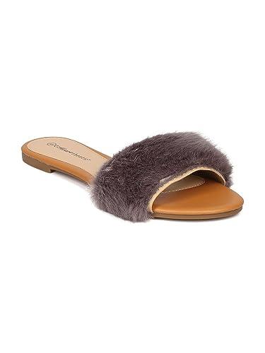 bcf0fa755e0a42 Heart.thentic Fiona-10 Women Furry Open Toe Flat Slip On Sandal HJ22 -