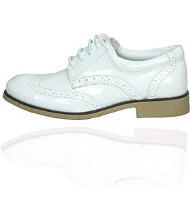 Patente Zapatos Brogue Blancos Formales para Niños