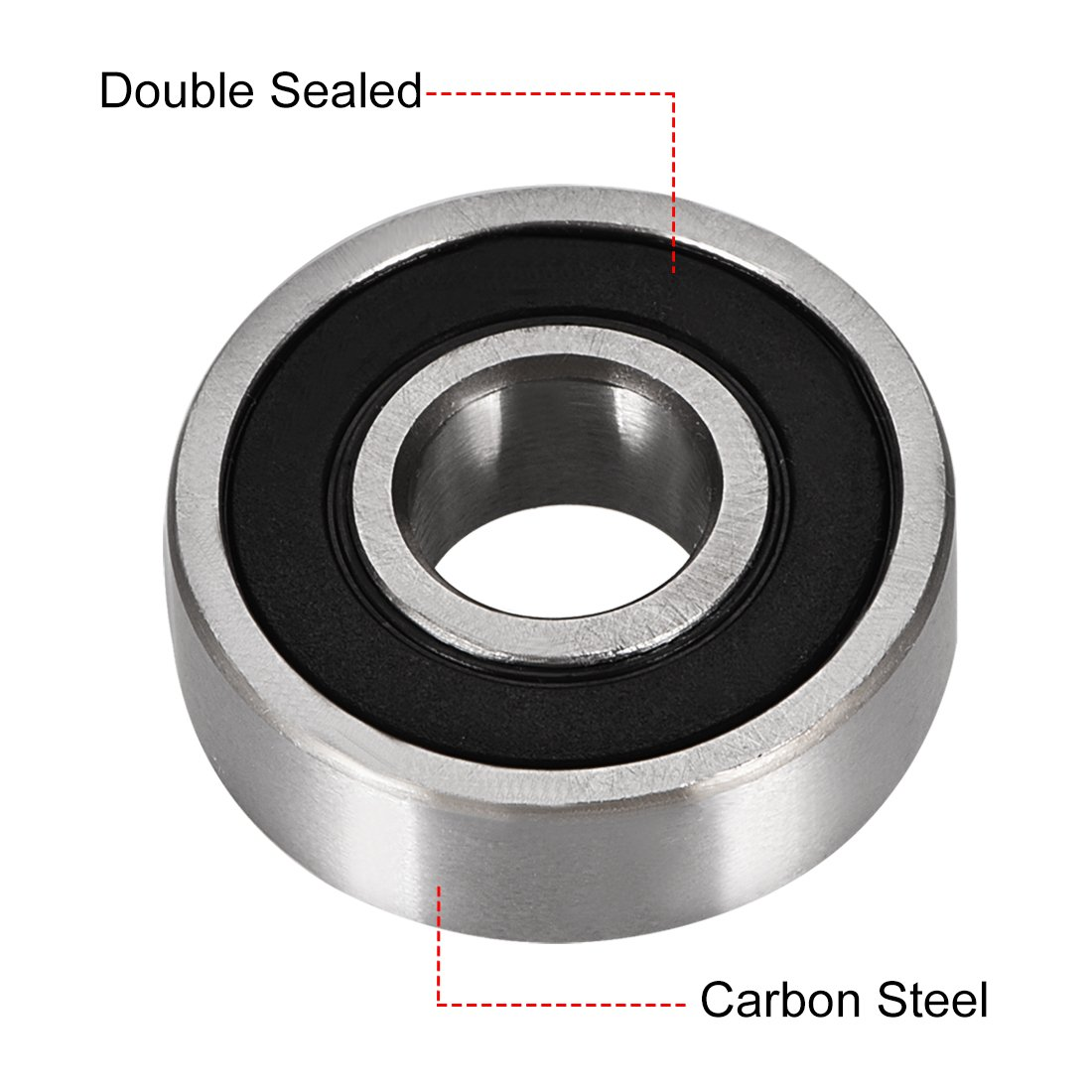 Pack of 10 Carbon Steel 6000-2RS Ball Bearing 10mm x 26mm x 8mm Double Sealed 180100 Deep Groove Bearings