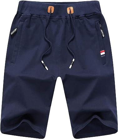 Tansozer Short De Sport Pour Homme En Coton Avec Fermeture éclair Amazon Fr Vêtements Et Accessoires