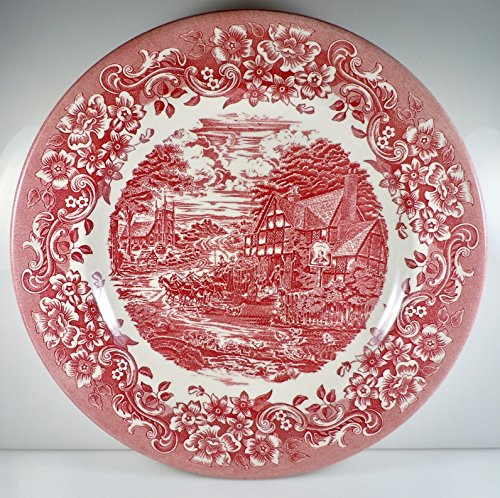 Staffordshire Engravings 17th Century Red Salad Plate 7 7/8