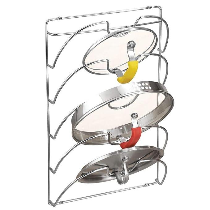 mDesign Juego de 2 soportes de pared para utensilios y menaje de cocina - Práctico organizador de tapas de ollas y sartenes - Útil organizador de cocina de ...