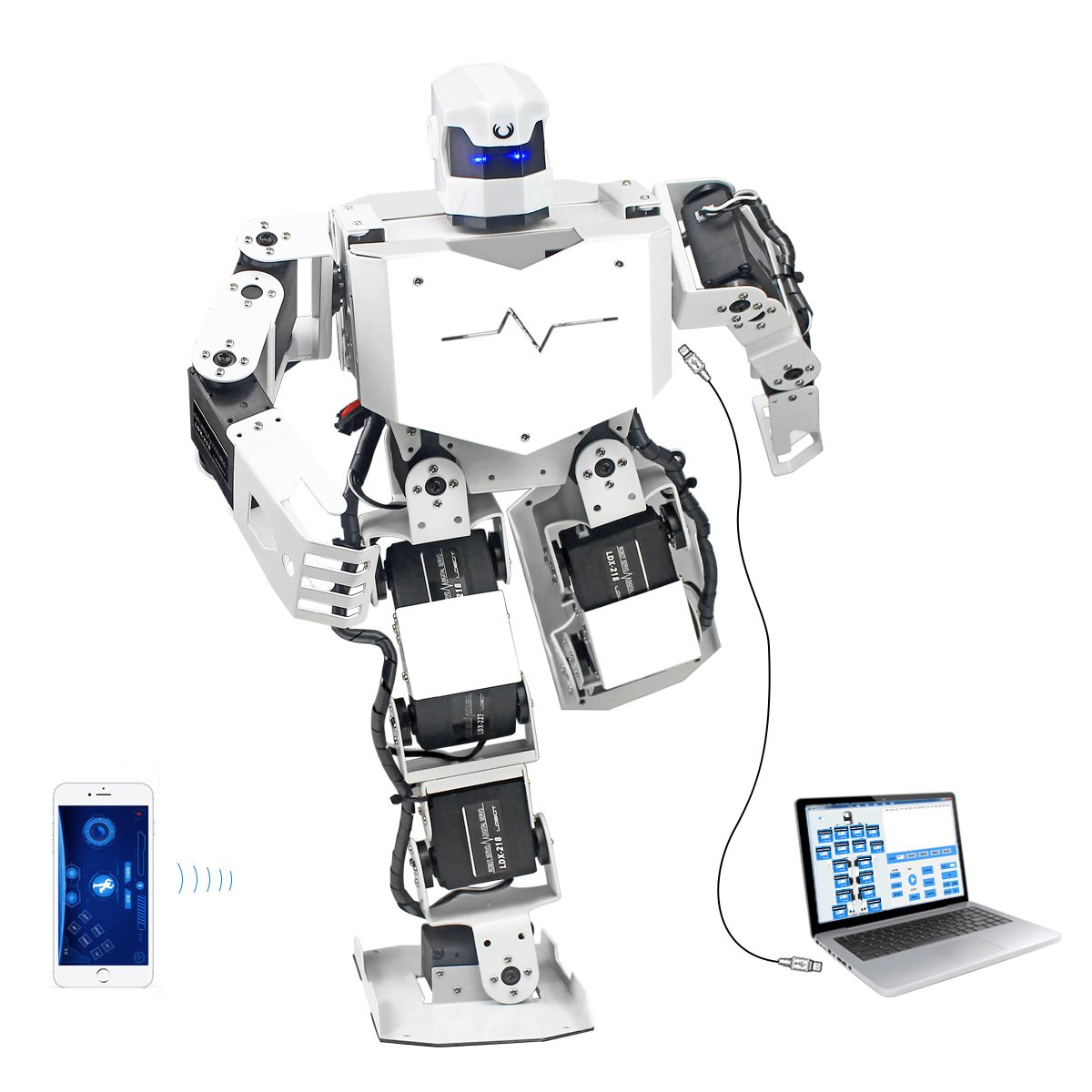 Hiwonder H3S 16DOF Biped Humanoid Robot Kit with Free APP, MP3 Module, Detailed Video Tutorial Support Sing Dance(Assembled) by LewanSoul (Image #1)