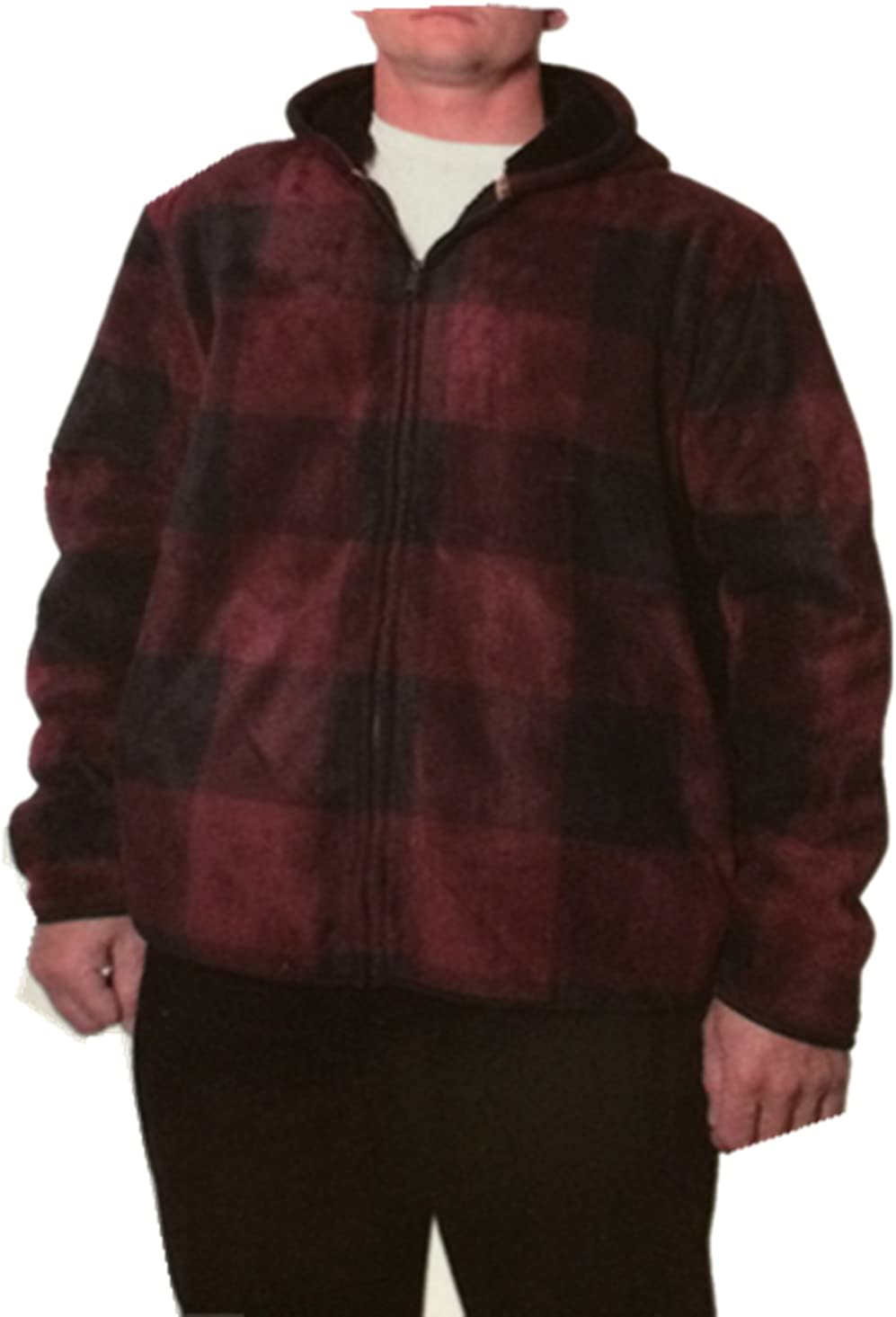 Freedom Foundry Mens Flannel Fleece Lined Jacket Hoody Red, Large