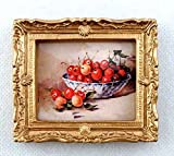 Melody Jane Dolls Houses House Miniature Accessory Bowl of Cherries Picture Painting in Gold Frame