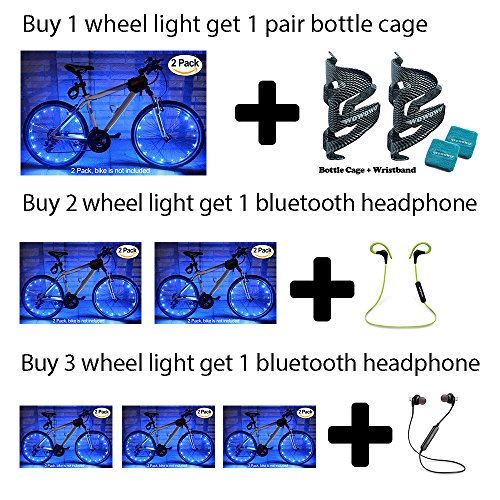 MAGINOVO 2PCS Wheel Light LED Bicycle Bike Rim Lights Safety and Fun (Blue)