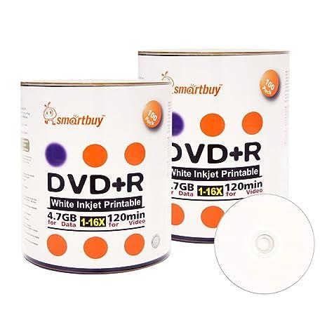 Amazon Smart Buy 200 Pack DVD R 47gb 16x White Printable