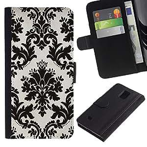 iKiki Tech / Cartera Funda Carcasa - White Black Stylish Classy Elegant - Samsung Galaxy Note 4 SM-N910F SM-N910K SM-N910C SM-N910W8 SM-N910U SM-N910
