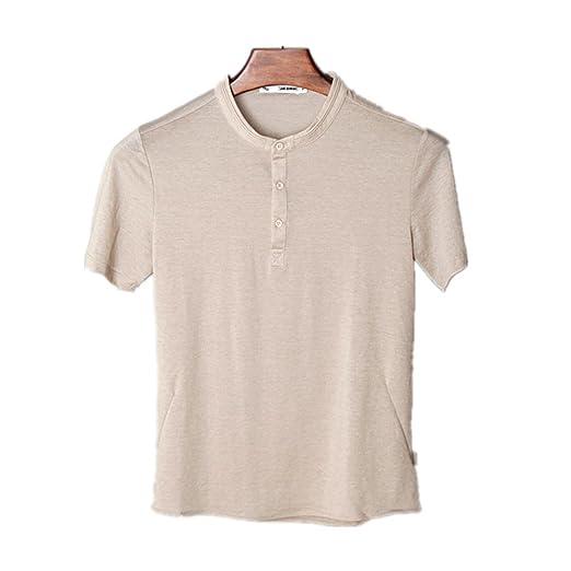 FLYMD Round Collar Short Sleeve Camisa de Polo con Mangas Cortas y ...