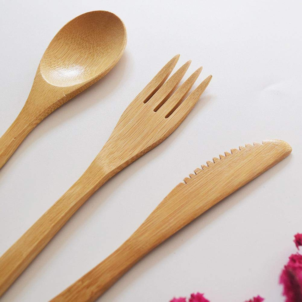 Uk Top Seller Buy One Get One Free Bamboo Cutlery Set Knife Fork Reusable With Carry Case Spoon