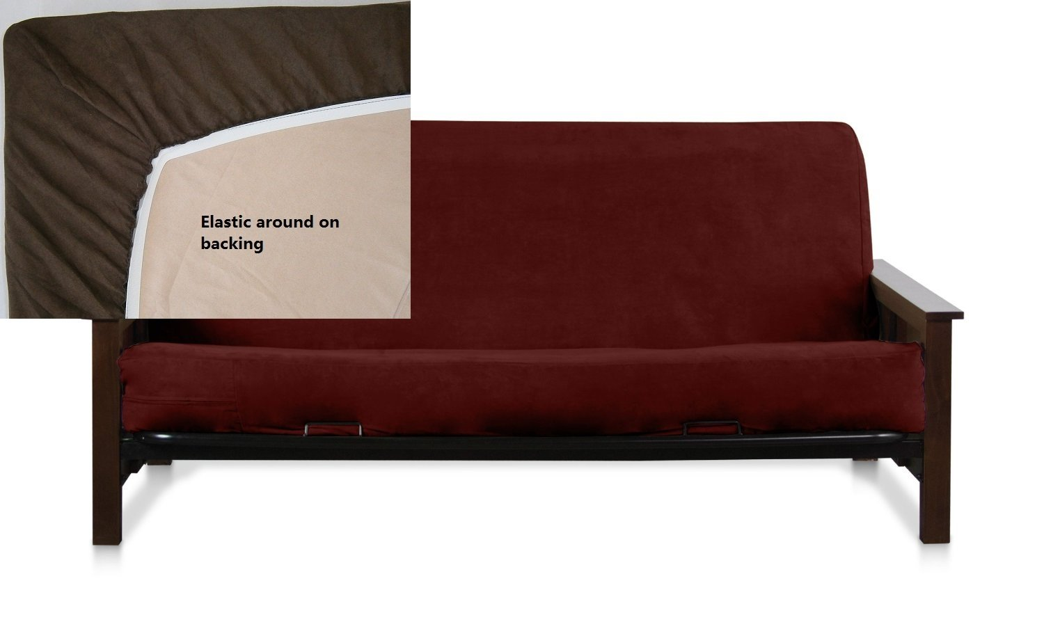OctoRose Full Size Elastic Bonded Micro Suede Easy Fit Fitted Futon Cover (Wine)