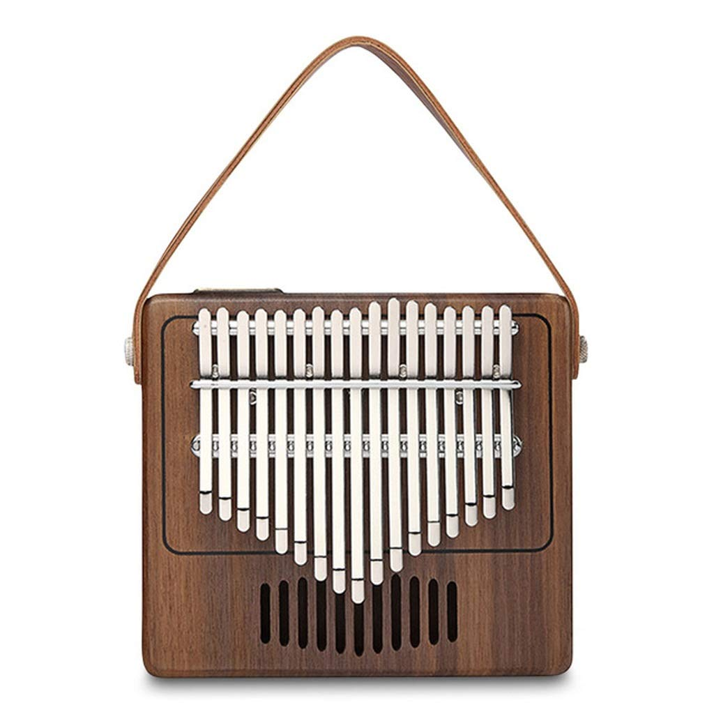 Zyj Vintage 17 Key Kalimba Thumb Piano Walnut Musical Instrument Radio Shape Music Box Leather Strap by Zyj