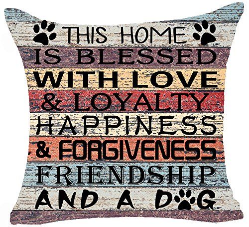 Retro Vintage Wood Grain Warm Sayings This Home is Blessed & Loyalty Happiness and A Dog Paw Prints Cotton Linen Throw Pillow Case Cushion Cover New Home Office Bay Window Decorative Square 18 Inches