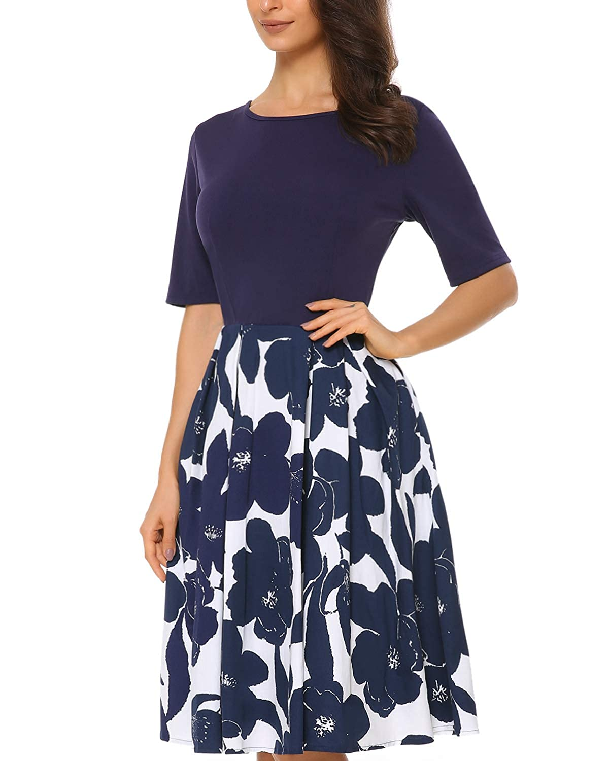 e89f53943e02 Mixfeer Women's Vintage Midi Dress Floral Scoop Neck Long Sleeve A-line Cocktail  Party Swing Dress with Pockets at Amazon Women's Clothing store: