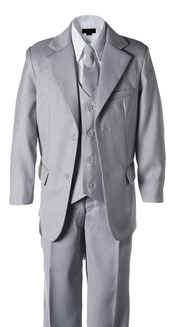 Boys Light Grey 2 Button Wedding Suit Size 8