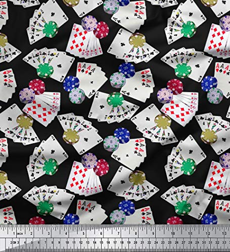 Soimoi 58 Inches Wide Cotton Poplin Fabric Poker Card Print Sewing Material by The Yard-Black -