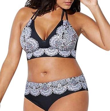 Cinnamou-mujer Tallas Grandes Vendaje de impresión Sujetador Acolchado Bikini Dividir Bañador de Cuerpo Ropa de Playa: Amazon.es: Ropa y accesorios