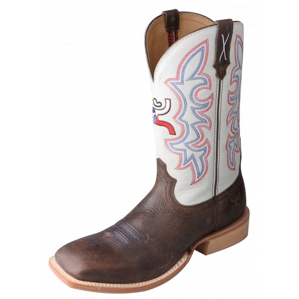 HOOey Twisted X Youth Unisex White Leather Brown Cowboy Boots 11M