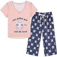 YIJIU Women Soft Comfy Pajamas Cute Cat Short Sleeve Capri Pants PJS Set