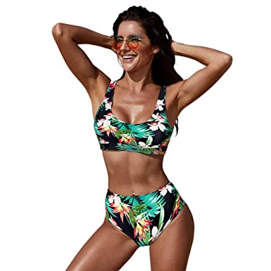 a8b9368e6c485 Amazon.com: Exlura Bikini Set Sexy Floral Print Bikini 2 Piece Swimsuit  Push Up Padded Swimwear: Clothing