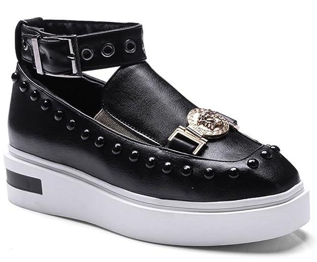 Easemax Damen Fashionable Durchgängiges Plateau Quadrate Zehen Nieten Schnalle Metall Sneakers Schwarz 40 EU uqtKZB