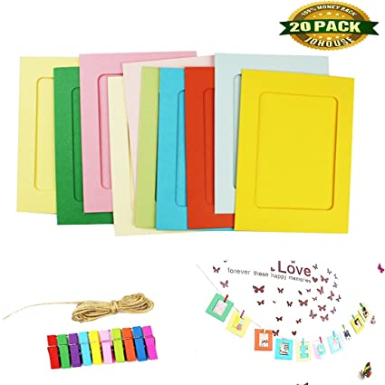 Amazon.com - Paper Photo Frame, DIY Photo Frame Wall Deco with Clips ...