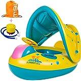 TOAOB Baby Schwimmhilfen Schwimmen Ring mit Sonnendach für Kinder von 1-3 Jahre Aufblasbares Kinderboot anbei Luftpumpe und Rücksack mühelos aufbalsen