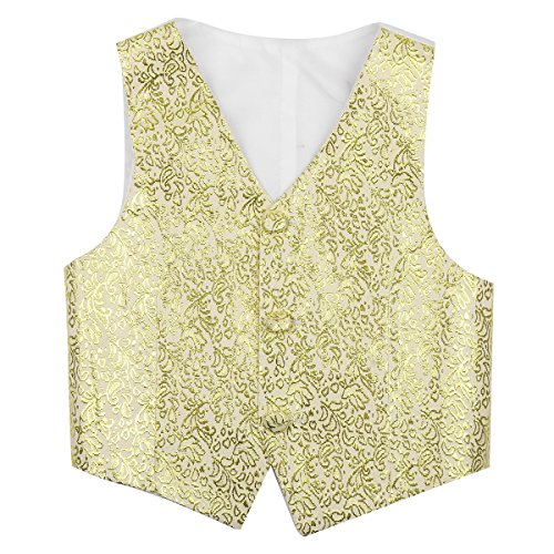 FEESHOW Kids Boys Formal Tuxedo Dress Vest Wedding Waistcoat Gentleman Suit Floral Pattern Gold 8-10