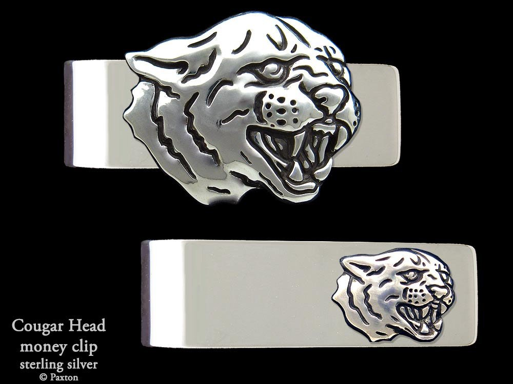 Cougar Panther Head Money Clip in Solid Sterling Silver Hand Carved, Cast & Fabricated by Paxton