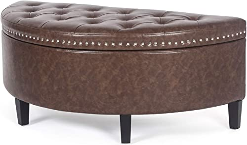 Asense Tufted Lift Top Storage Ottoman Bench Half Moon Footrest Stool Soft Paded Seat Dressing Shoe Bench