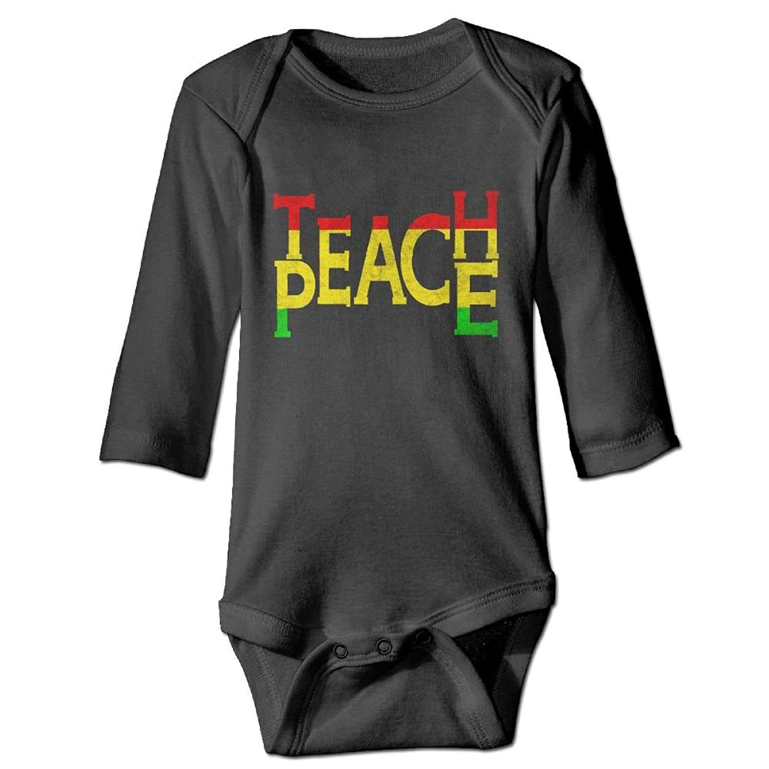 efadf74e0 BabyPower Baby Boy Girl Romper Teach Peace Rasta Print Jumpsuit Long Sleeves  Outfits Bodysuit