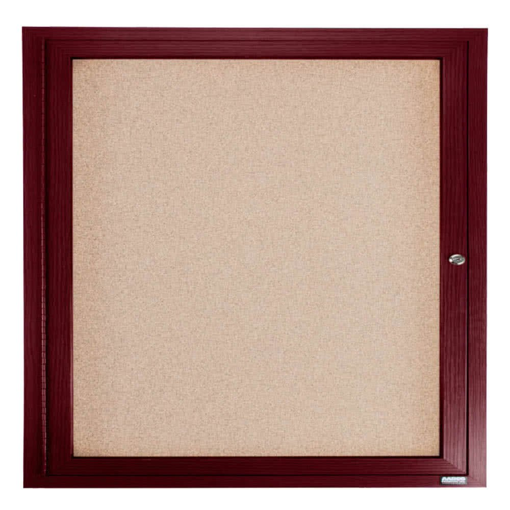 TableTop King CBC3636R 36'' x 36'' Enclosed Indoor Hinged Locking 1 Door Bulletin Board with Cherry Frame