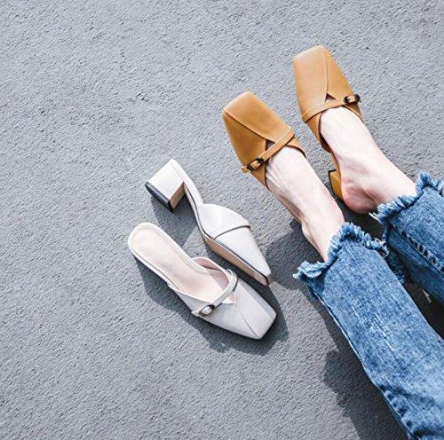 Zapatos Chanclas Sandalias de de Zapatillas y de cinturón la caseros Deporte Las DANDANJIE Beige de Moda Cerca Hebilla Verano del señoras Zapatillas de la Ix1q5d