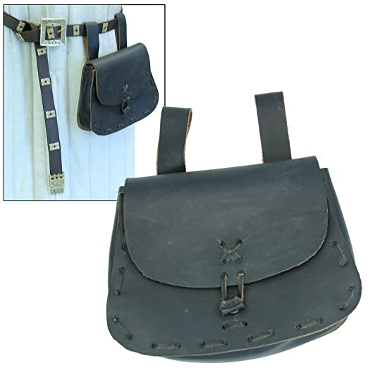 Deluxe Adult Costumes - Medieval Blackened Leather Festival Belt Pouch