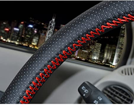 Needle Thread Genuine Leather Gray Universal Car 38cm//15/'/'Steering Wheel Cover