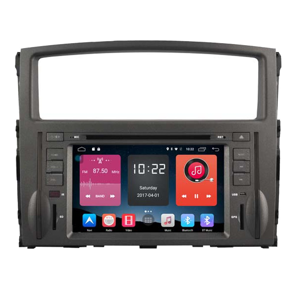 Autosion 7 inch In Dash Android 6.0 Car DVD Player Radio Head Unit GPS Navigation Stereo Gray for Mitsubishi Pajero IV 2006 - 2015 Support Bluetooth SD USB Radio OBD WIFI DVR 1080P