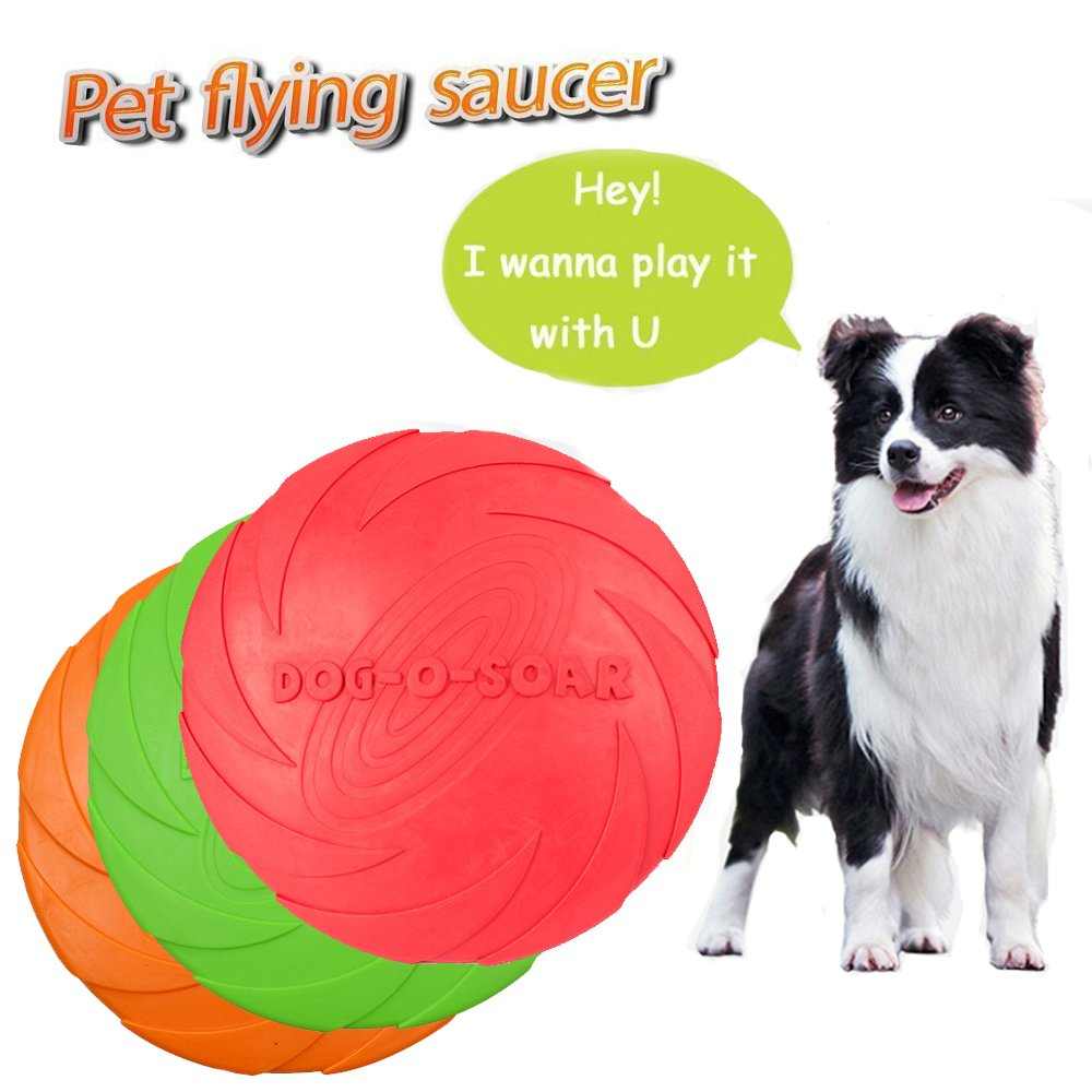 Dog Frisbee Toy,Pet Training Cyber Rubber Flying Saucer Interactive Toys,Floating Water Dog Toy Suitable For Small, Medium, or Large Dogs Outdoor Flight,1pcs (Large, Green)