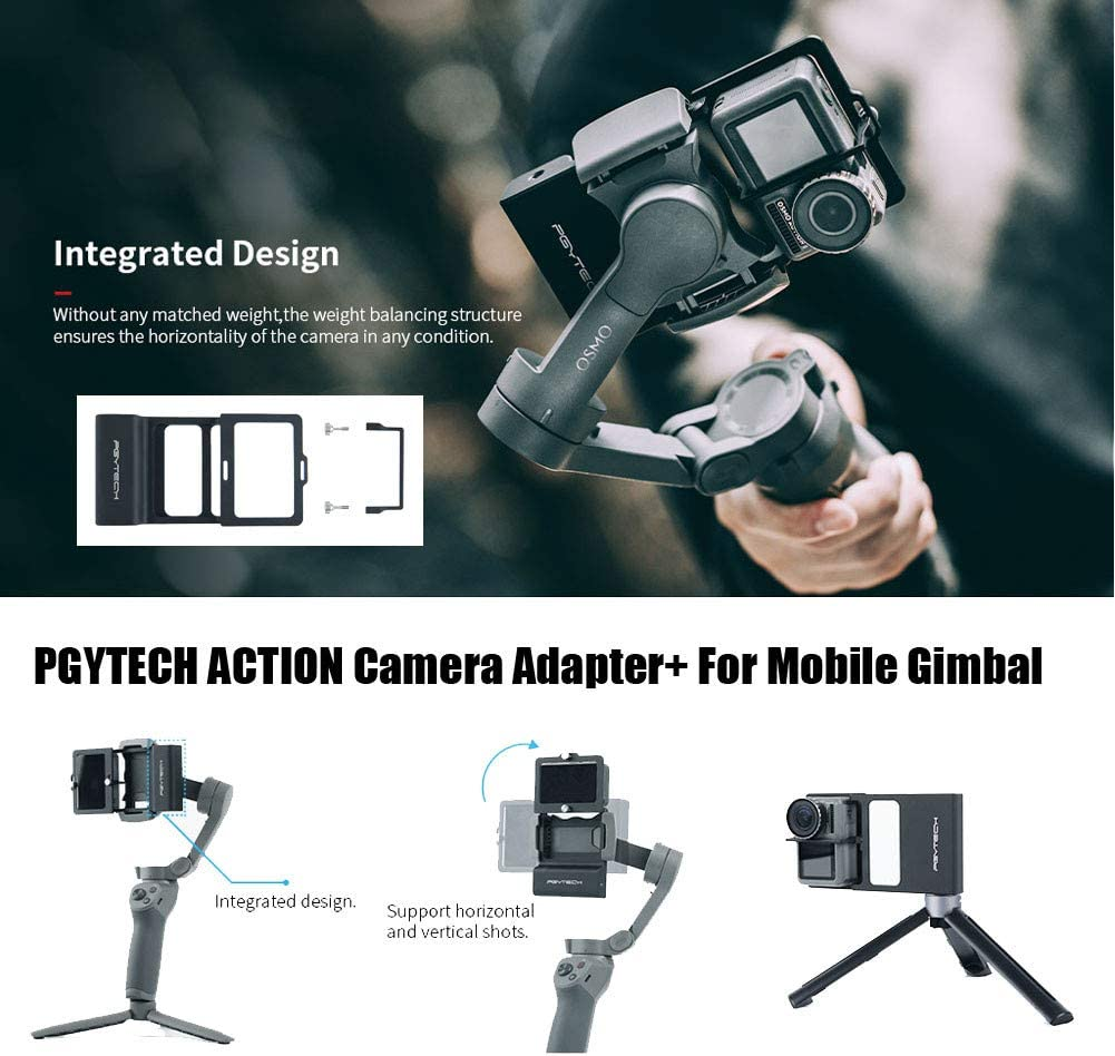 LLJEkieee Camera Adapter for Mobile Gimbal for Go pro Hero7 6 5 for DJI osmo Mobile 3 for Smooth 4 Camera Accessories Black