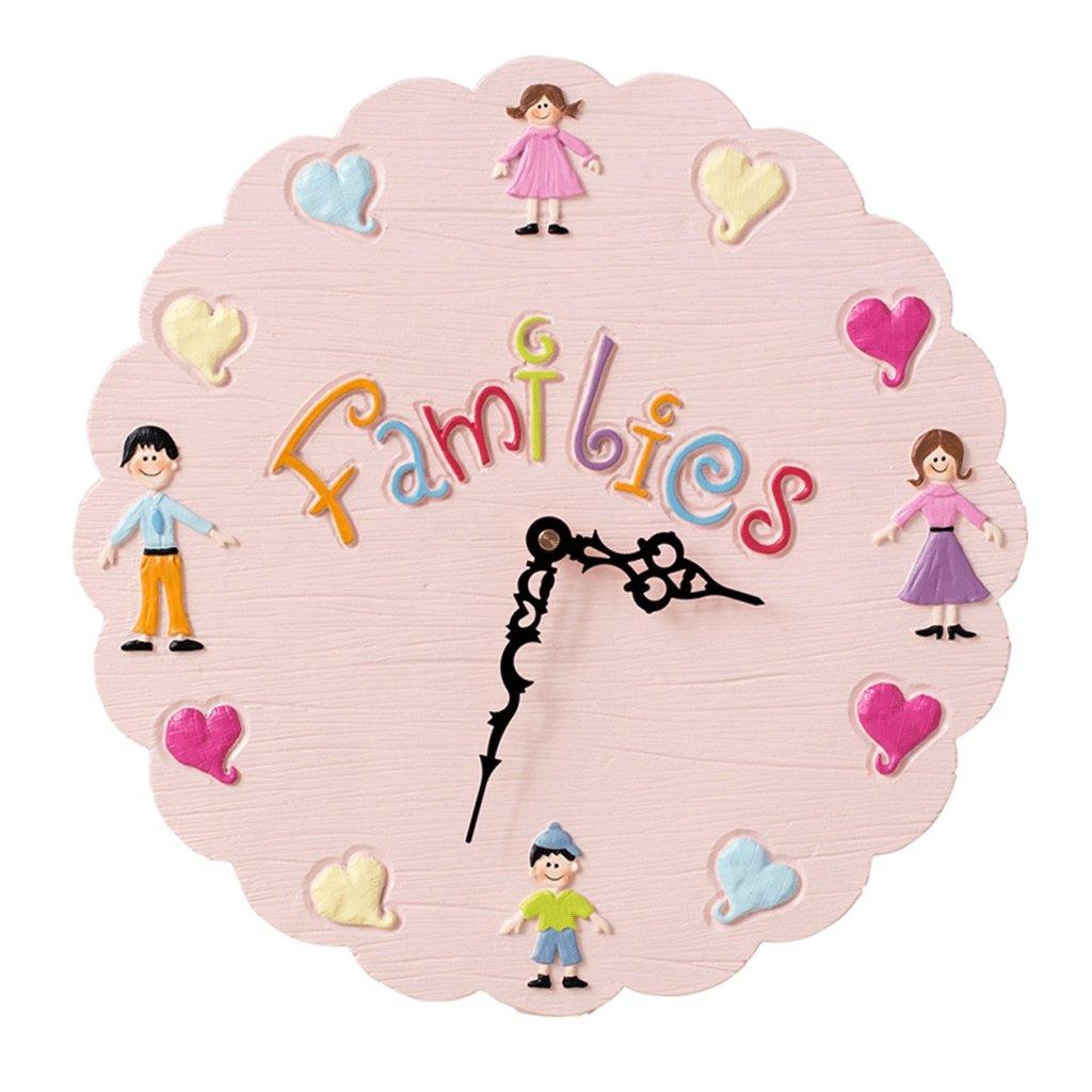 掛け時計 子供のための壁時計サイレント創造性ファッション幼稚園子供部屋リビングルームベッドルーム時計ラウンドモダンシンプルな北の装飾14インチ直径32.5cm UOMUN (色 : ピンク ぴんく) B07C5RGV81 ピンク ぴんく ピンク ぴんく
