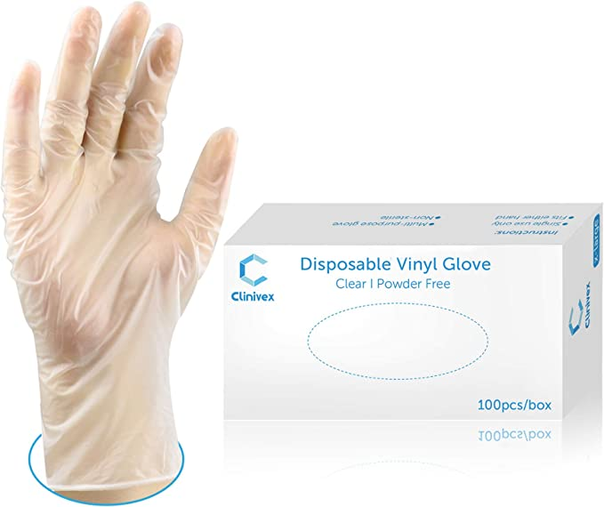 Disposable Gloves Latex-Free Clear Vinyl Gloves Thick Powder-Free All-Purpose Gloves Size X-Large Glove by Ridex Medical 100-Count Dispenser Box Gloves 100 Pieces