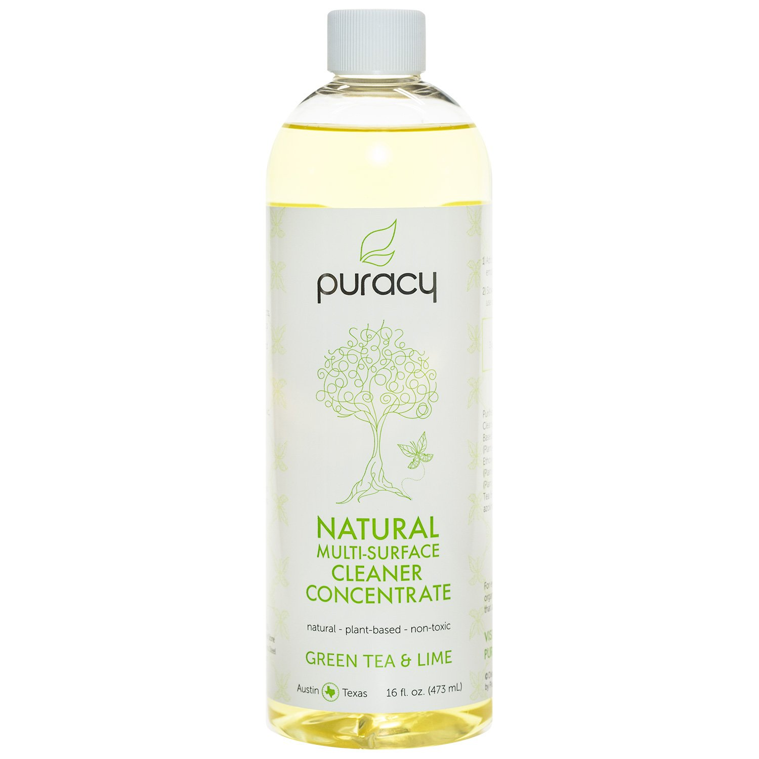Puracy Natural All Purpose Cleaner Concentrate (Makes 1 Gallon), Streak Free, Professional Results, Safe on All Surfaces, Green Tea and Lime, 16 Fluid Ounce Bottle