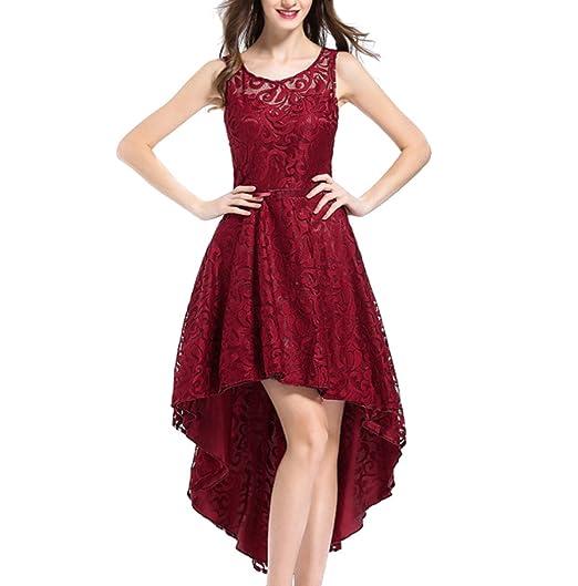 JINGLIYA Halterneck Irregular Women Girl Elegant Sweet Prom Banquet Wedding Birthday Dress Red: Amazon.co.uk: Clothing