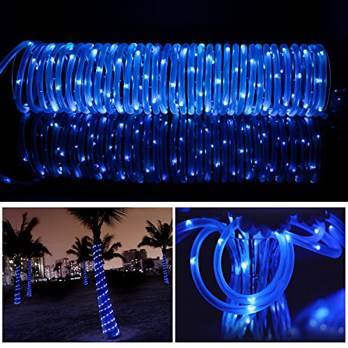 LTE Solar Rope Lights LED String Lights Waterproof Solar Powered Decoration Light for Gardens, Patios, Homes, Parties 33ft 100 LEDs Blue by LTE LIGHTING EVEN (Image #6)