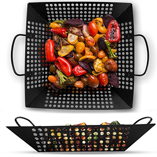 Corona BBQ Grill Accessories Set as Square 12 Inch Sized Grilling Basket for Fish, Meat and Vegetable Stainless Steel Grill Tools Basket Perfect for Camping Cookware - Round Steel Stainless Basket