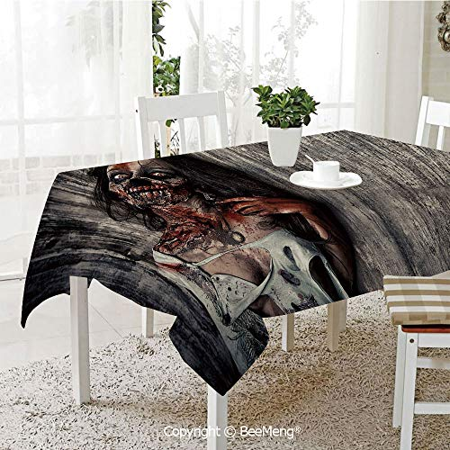 BeeMeng Dining Kitchen Polyester dust-Proof Table Cover,Zombie Decor,Angry Dead Woman Sacrifice Fantasy Mystic Night Halloween Image Decorative,Dark Taupe Peach Red,Rectangular,59 x 59 inches ()