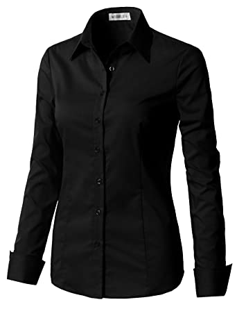 570bae80a94 CLOVERY Women s Basic Stretchy Long Sleeve Slim Fit Button Down Collared  Shirt Black XS