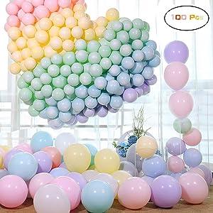 Funny House Globos Pastel ,Macaron Latex Balloons Color Globos para Graduaciones, Fiestas, cumpleaños, día de San Valentín, Decoraciones (100 PCS)
