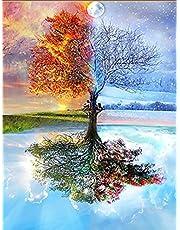 """Kit fai-da-te per pittura 5D con strass,(""""diamond painting kit completo""""),Pittura diamante albero ,ricamo su tela con strass motivo albero magico, decorazione da parete"""